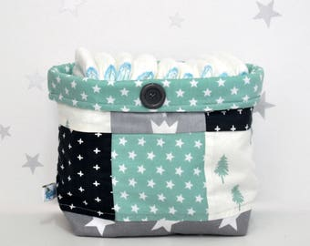 Nursery Fabric Bin, Forest Nursery, Newborn Gift Idea, Diaper Storage, Tree Nursery,Storage Bin for Nursery,Baby Storage Basket,Diaper Caddy