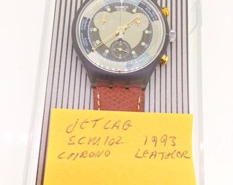 swatch watch Jet Lag SCM102 chrono 1993 new unused with original box quartz with papers
