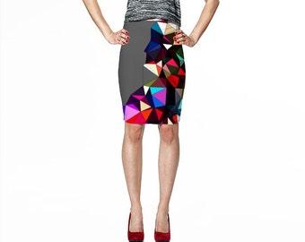 Print Pencil Skirt / Gray Skirt / Art Skirt / Fitted Pencil Skirt / Bodycon Skirt / Print Skirt / Geometric Print Skirt / Fitted Skirt