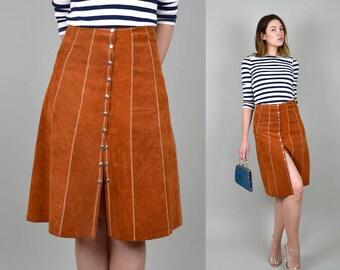 ON SALE 1970's Sienna Suede Skirt snap button Zig Zag stitch 70's Boho Leather Skirt