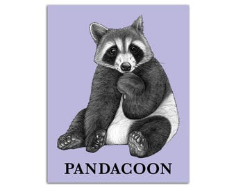 "Pandacoon 8x10"" High Quality Color Print, Panda + Raccoon Hybrid Animal, Wall Art, Office Décor, Whatif Creations, Portland, OR"