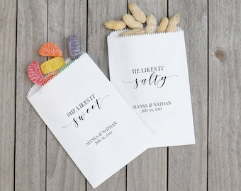 Sweet and Salty Favor Bags, His and Hers Wedding Sacks, Barn Wedding, Brides Favorite, Grooms Favorite - Lined, Grease Resistant
