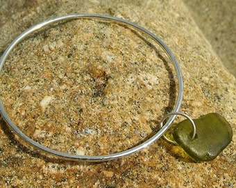 Sea glass Bangle, Cornish Sea glass  Sea glass jewelry, Silver Bangle, Silver Bracelet, Hammered bangle, Silver jewellery, Bridesmaid gift.