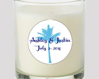 """Palm Tree 2"""" Favor labels Great for personalizing your events, weddings, birthday, Candles, cupcake toppers Mason Jar decals, Stickers"""