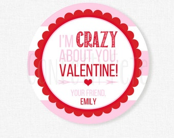 Crazy About You Valentine Tags, Valentine's Day Tag, Crazy Straw Tag, Pink and Red Valentine Tag, Personalized