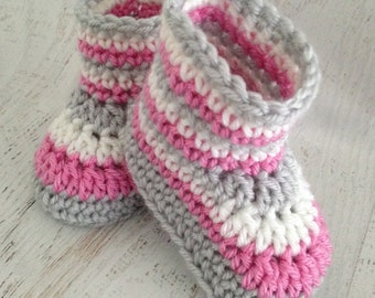 Pretty Crochet Booties - Handmade Pink, White & Gray Girl Baby Boots - Baby Shower Gift Idea - 3 - 6 Month Size Crib Shoes