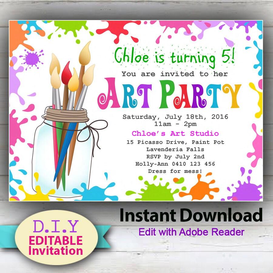 EDITABLE Art Party D.I.Y. invitation Paint Party Invites