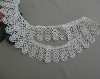 FREE SHIPPING Vintage Crochet Lace Antique Lace Collar Trim Cotton Tatting  Circular