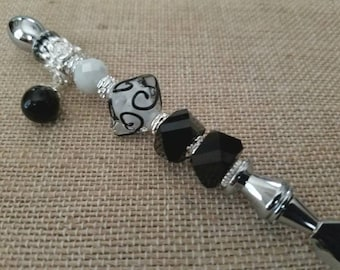 Black and White Elegant Glass Beads on a Silver Letter Opener
