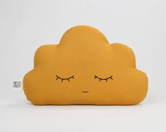 Mustard baby cloud pillow, mustard cloud cushion, kids pillow, kids cushion, kids throw pillow, personalized baby pillow, name pillow