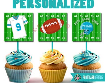 Football Cupcake Topper, Football Party, Football, Football Cupcake, Cupcake Topper Printable, Party, Digital, Printable, PERSONALIZE