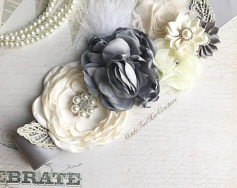 Ivory flower sash, gray ivory flower wedding belt Sash, bridal sash, Bridal Belt, Neutral Maternity Sash, ivory gray maternity sash