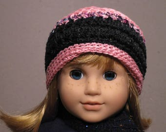 Pink and Black Beanie Hat for 18 inch Dolls like American Girl