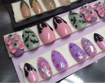 Creepy Cute Eyebow Drippy Bat Nail Art Pastel Glitter Press on false fake nails