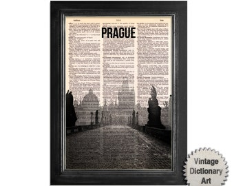 Prague Charles Bridge Czech Republic Skyline - Cityscape printed on Recycled Vintage Dictionary Paper - 8x10.5 Dictionary Art Print