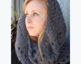 Women's Knit Scarf, Genna Mohair Blend Infinity Scarf, with Sequins, Snood, Loop, Neckwarmer, Circle, Warm, Winter, Scarf, Grey, Gray