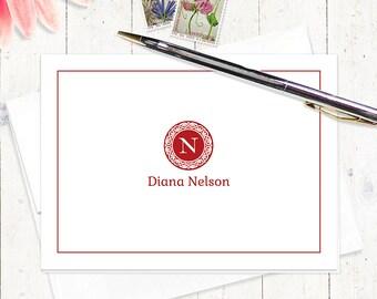 personalized stationery set - MEDALLION MONOGRAM - set of 8 - personalized stationary folded note cards - monogrammed