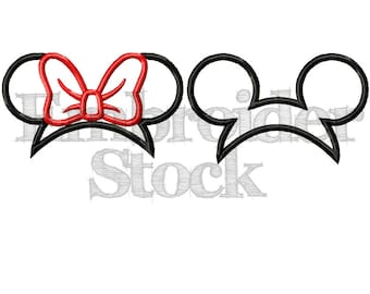 Minnie and Mickey Mouse Applique Hats For Embroidery Machine Use - 3 Sizes