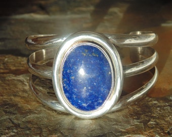 Native American Vintage Sterling Silver and Lapis Cuff Bracelet - 57 Grams