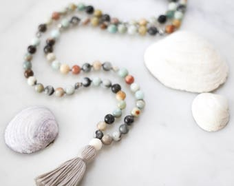 Soothe Mala (multi-colour)- mala necklace, tassel necklace, mala, amazonite, crystal necklace, gifts for her, gemstone necklace, meditation