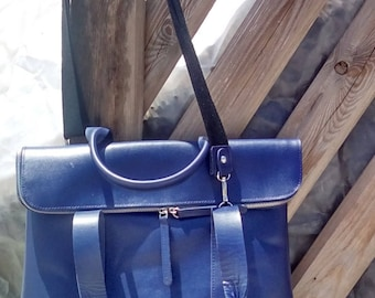 Calf leather satchel in blue