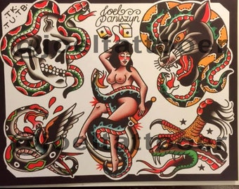 Snake Tattoo Flash Sheet