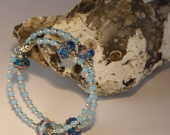 Bue gemstone and lampwork bead bracelet