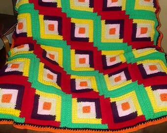 Multi-color crochet throw