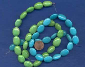 """Two Strands of Chalk Turquoise, 2 colors, 16"""" each"""