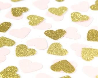 Pink and gold heart confetti. Confetti. First birthday party. 1st birthday girl. Heart confetti.