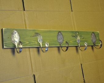 Funky Forks and Spoon Hooks Green Stained Distressed Rack Recycled Silverware