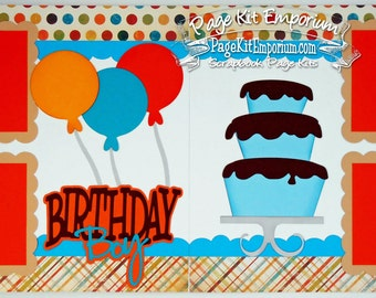 Scrapbook Page Kit Birthday Boy Balloons Cake 2 page Scrapbook Layout 76