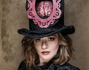 Dementia - The Brain - Hat - Steampunk Hat - Top Hat - Black Top Hat