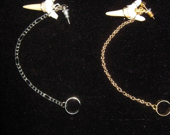 gold or silver wire wrapped mako shark tooth teeth ear cuff with chain
