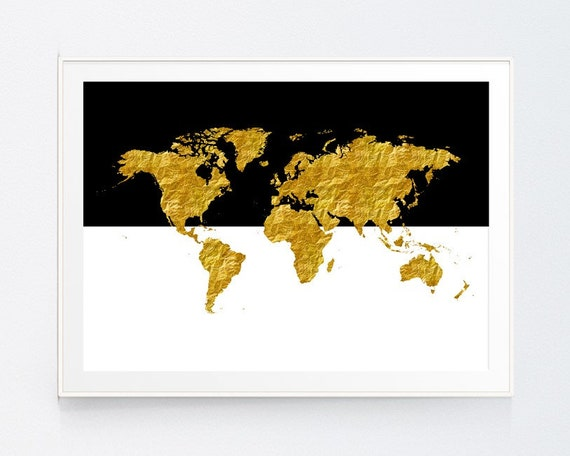World Map Poster Art Print Bedding Clipart Decor Digital - Black and gold world map