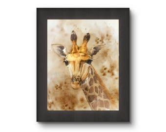 Giraffe digital, giraffe printable, giraffe art, giraffe print, giraffe download, giraffe wall decor, animal digital, digital giraffe