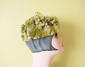 1950's Velvet Bud and Leaf  Pixie Hat