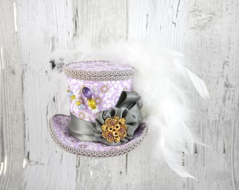 Purple and Gray Rosette Medallion Medium Mini Top Hat Fascinator, Alice in Wonderland, Mad Hatter Tea Party, Derby Hat