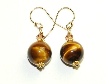 Tigers Eye Earrings - Tiger Eye - Short drop earrings - Brown and Gold - 14K Gold fill - Mothers Day Gift