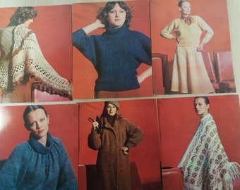 set of 14 leaflets in the cover for knitting and crochet patern women clothing