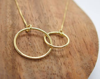 Double circle necklace, silver necklace, infinity necklace, sterling silver