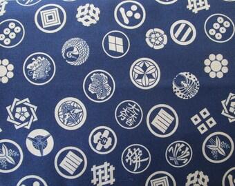 Fabric coupon Japanese kamon motifs blue 50 x 55 cm