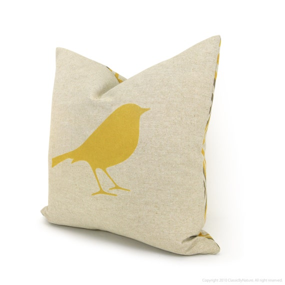 items similar to 16x16 decorative throw pillow pillow cover mustard yellow bird print on. Black Bedroom Furniture Sets. Home Design Ideas