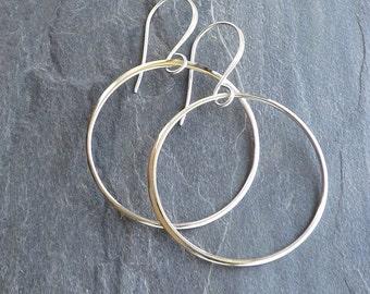 Large sterling hoop earrings / Sterling silver circle earrings / Large dangle hoop earrings