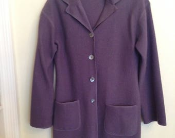 NYBased Boiled Wool Violet/Lavender Jacket with Abalone Buttons, Medium