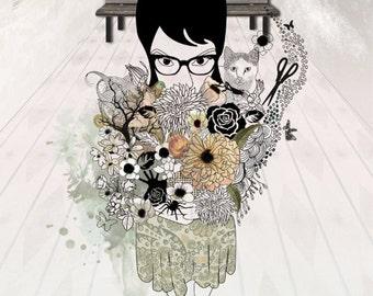 Fine Art original drawing of Flowers girl, Gothic art, Whimsical art, Gift for him