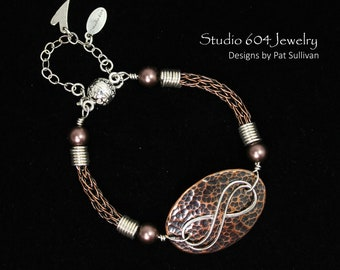 Copper Woven Bracelet with Pendant - B808