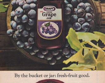 Vintage Kraft Grape Jam Magazine Ad 1968 1st Anniversary Gift Idea