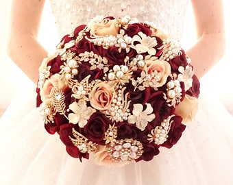 Silk flower burgundy wine rose gold brooch bouquet , gold jeweled crystal alternative unique bouquet by Memory Wedding