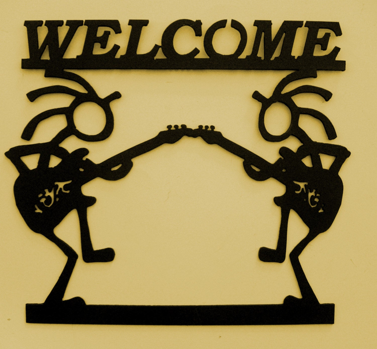 Kokopelli Welcome Sign Southwest Metal Art GuitarWall